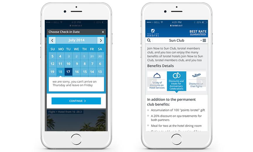 Isrotel mobile website
