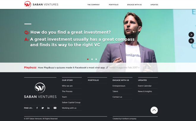 Saban-Ventures-website home page